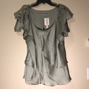 Violet & Claire 2X blouse green with layers EUC